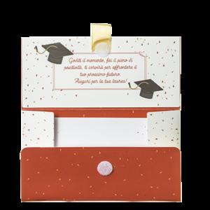 Biglietto Pochette Laurea-Congratulazioni Beige Rosso