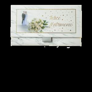 Biglietto Pochette Matrimonio Bouquet Effetto Marmo