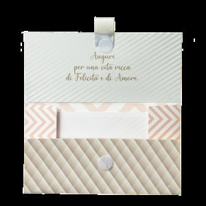 """Biglietto Pochette Matrimonio """"Felice Matrimonio"""" Bouquet Fantasia Geometrica"""