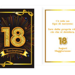 Biglietto Auguri 18 Anni Tema Neutro Oro