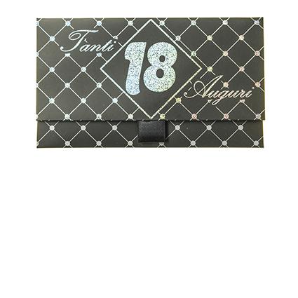 Biglietto Pochette 18 Anni Nero Glitter