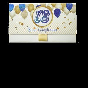 Biglietto Pochette 18 Anni Palloncini Blu & Oro Bianco