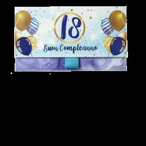 Biglietto Pochette 18 Anni Palloncini Marmo Blu