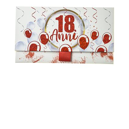 Biglietto Pochette 18 Anni Palloncini Rossi
