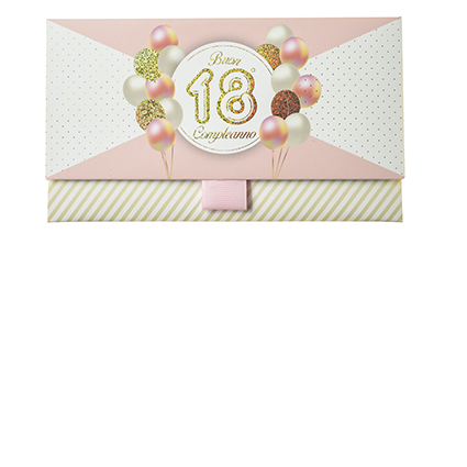 Biglietto Pochette 18 Anni Rosa Pastello & Oro