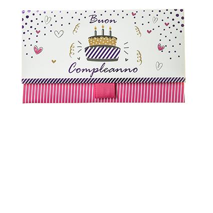 """Biglietto Pochette Compleanno """"Buon Compleanno"""" Birthday Cake Rosa"""