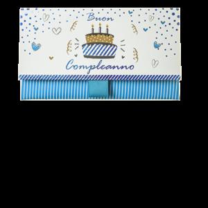 """Biglietto Pochette Compleanno """"Buon Compleanno"""" Birthday Cake Azzurro"""