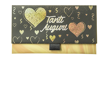 """Biglietto Pochette Compleanno """"Tanti Auguri"""" Nero & Oro ha dimensioni 16 x 10 x 9 cm ed è pratico e tascabile. Nella parte interna superiore è presente un messaggio d'auguri, oltre allo spazio per un messaggio personalizzato da aggiungere a mano."""