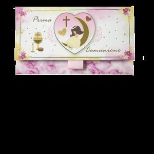 Biglietto Pochette Prima Comunione Mezza Luna-Marmo Rosa