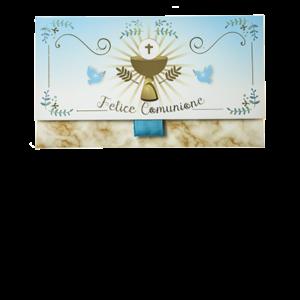 """Biglietto Pochette """"Felice Comunione"""" Azzurro&Marmo Oro è un biglietto augurale portasoldi pensato per festeggiare la prima comunione."""