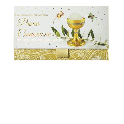 """Biglietto Pochette """"Prima Comunione"""" Mandala Oro"""