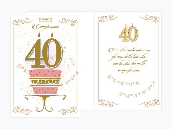 Biglietto auguri compleanno 40 anni con disegno Torta